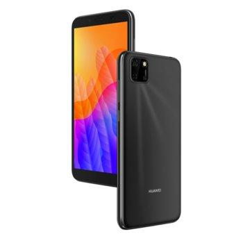"""Смартфон Huawei Y5p (черен), поддържа 2 sim карти, 5.45"""" (13.84 cm) TFT LCD HD+ дисплей, осемядрен Cortex-A53 2.0GHz, 2GB RAM, 32GB Flash памет (+Micro SD слот), 8.0 MPix & 5.0 MPix предна камера, EMUI 10.1, 144g image"""