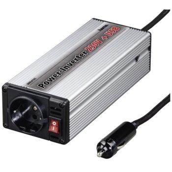 """Инвертор HAMA """"Power"""", 150W, от DC 15V към AC 230V, за кола, USB image"""