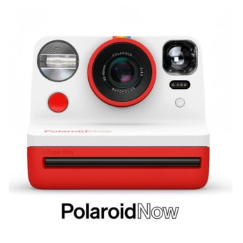 Фотоапарат Polaroid Now (червен), моментални снимки, светкавица, с батерия, auto-focus, USB image