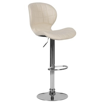 Бар стол Carmen 4055, до 100кг, еко кожа, хромирана база, газов амортисьор, крем image