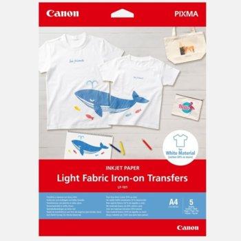 Копирна хартия Canon Light Fabric Iron-on Transfers, A4, 160 g/m2, бял, 5 листа image