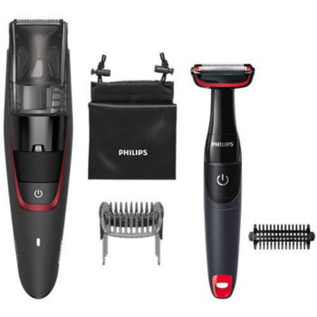 Тример за брада Philips Series 7000 BT7501/85 с тример за тяло BG105, с вакуум, за сухо бръснене, 60 минути работа на батерия, черен image