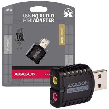 Външна звукова карта AXAGON ADA-17, 2.0, USB 2.0, черна image