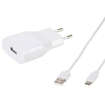 Зарядно устройствo Vivanco TCVVUSBC24A_W, от контакт към USB C(м), 5V, 2.4A, бяло image