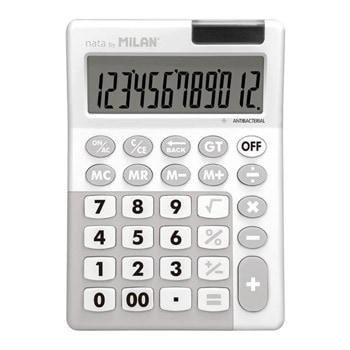Калкулатор Milan, 12 разряден дисплей, настолен, антибактериален, 4 memory бутона,функции корен квадратен и Grand Total, сив image