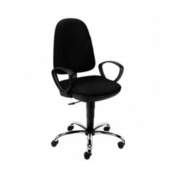 Офис стол Pegaz Ergo Chrome GTP C14, дамаска, подлакътници, газов амортиьор, черен image