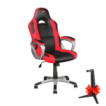 Геймърски стол Trust GXT 705 Ryon в комплект със стойка за слушалки Trust GXT 260 , черно/червен image