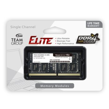 Памет 16GB DDR4 2666MHz, SO-DIMM, Team Group Elite TED416G2666C19-S01, 1.2V image