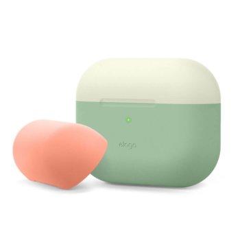 Калъф за слушалки Elago Duo Silicone EAPPDO-JIN-PEMGY, за Apple AirPods Pro, силиконов, зелен-бял image