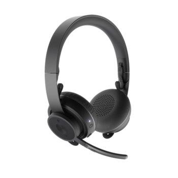 Слушалки Logitech Zone Wireless Plus, безжични, микрофон, Bluetooth, wireless Qi charging, черен image