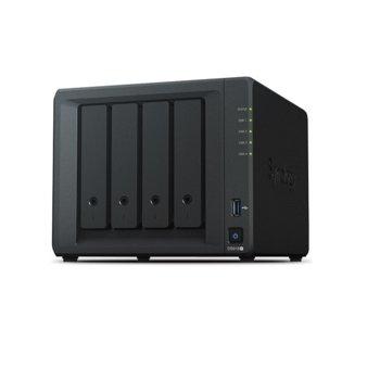 "Мрежови диск (NAS) Synology DiskStation DS918+, четириядрен Intel Celeron J3455 1.5/2.3GHz, без твърд диск(4x 2.5/3.5""/M.2(2280) HDD/SSD), 4GB DDR3L, 2x LAN10/100/1000, 2x USB 3.0, 1x eSATA image"