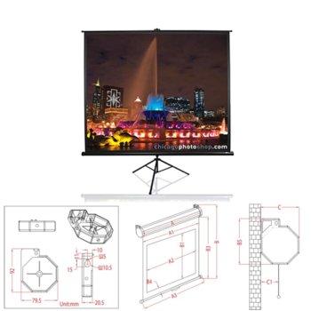 "Екран Elite Screens 85"" (215.9 cm), 152.4 x 152.4 cm ползваема площ, на стойка, 2г. image"