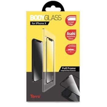 Протектор от закалено стъкло /Tempered Glass/ Тorrii BodyGlass IP8-BDG-01, Apple iPhone XS, iPhone X, черна рамка image