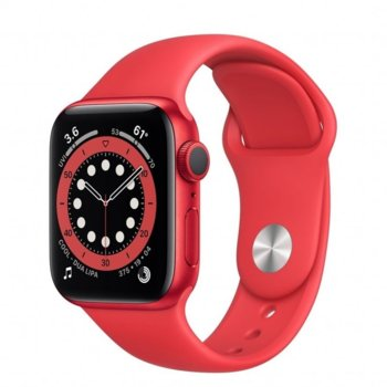 "Смарт часовник Apple Watch Series 6, 40mm, 1.57"" (3.99 cm) Retina OLED дисплей, Bluetooth, 50m water resistant, до 18 часа време на работа, Sport Band - Regular, червен image"