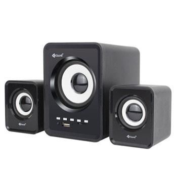 Тонколони Kisonli U-2800BT, 2.1, 11W, AUX, Bluetooth 5.0, USB, SD Card, черни, USB захранване, дистанционно image