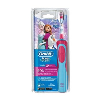 Ел. четка за зъби Oral-B D12 Frozen за деца, Презареждаща, 1 програма, Розова/Синя image