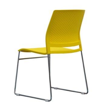 Посетителски стол RFG Gardena M, пластмасов, жълта седалка, жълта облегалка, 4 броя в комплект image