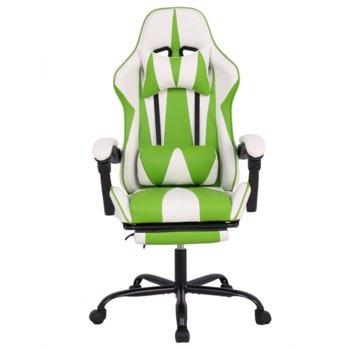 Геймърски стол RFG Max Game (ON4010200086), еко кожа, 150 кг. максимално натоварване, стоманена база, газов амортисьор, бял/зелен image