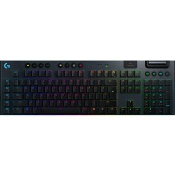 Клавиатура Logitech G915, безжична, геймърска, механична, linear switches, RGB подсветка, нископрофилни клавиши, US layout, черна, USB, Wireless, Bluetooth image