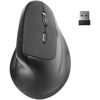 Мишка Vivanco 39632, оптична (1600dpi), безжична, USB, черна, вертикална image