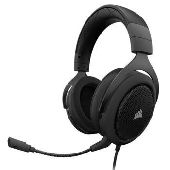 Слушалки Corsair HS60, микрофон, USB адаптер за 7.1 съраунд, 50mm неодимови говорители, 3.5 mm jack, черни/сиви image