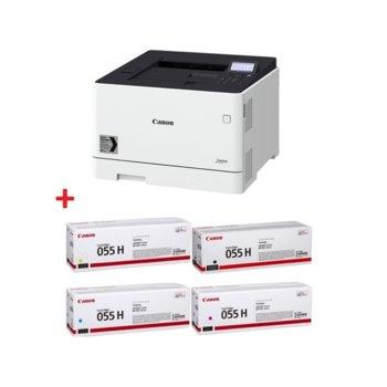 Лазерен принтер Canon i-SENSYS LBP663Cdw в комплект с тонер касети Canon CRG-055H BK/C/M/Y, цветен, 600 x 600 dpi, 27 стр/мин, LAN, Wi-Fi, A4 image
