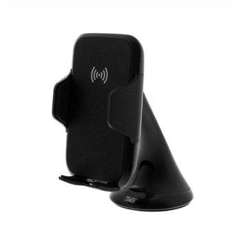 Стойка за телефон TnB, за кола, универсална, вакуумна, вградено безжично зарядно устройство, черна image