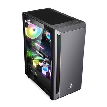 Кутия Segotep Gank 5 SG-GK5-BK, ATX, Micro-ATX, Mini-ITX, прозорец, RGB подсветка, черна, без захранване image