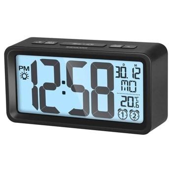 Часовник/будилник Sencor SDC 2800 B, цифров настолен часовник с термометър, календар, монтаж на стена, двойна аларма със зумер, функция за нощно осветление, черен image
