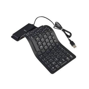 Клавиатура, силиконова, устойчива на заливане, прах и удари, USB/PS/2, умалена(без цифрова клавиатура), черна image