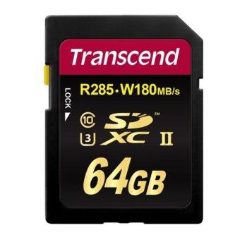 Карта памет 64GB SDXC, Transcend 700S, Class 10 UHS-II, скорост на четене 285 MB/s, скорост на запис 180 MB/s image