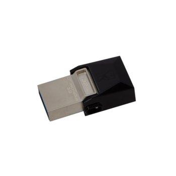 Памет 32GB USB Flash Drive, Kingston DataTraveler microDuo 3.0, USB 3.0/microUSB, черна image
