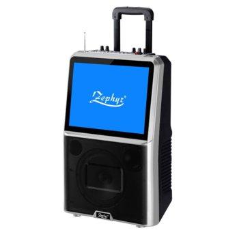 Тонколона Zephyr ZP 9999 E, 2.0, с цветен LED екран, Bluetooth, MP3, 2 бр. безжични микрофона, черна, караоке image