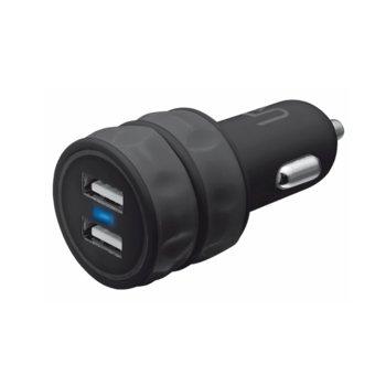 Зарядно за кола TRUST 20155, от авт. запалка към 2x USB A(ж), 12-24V/2x 5V/1A, черен image