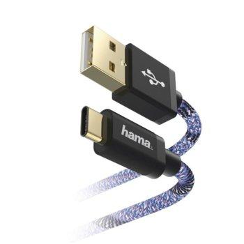 Кабел Hama Sporty, от USB-C(м) към USB-A(м), 1.5m, син/розов image