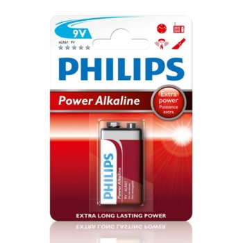 Батерия алкална Philips Power 6LR61, 9V, 1 бр.  image