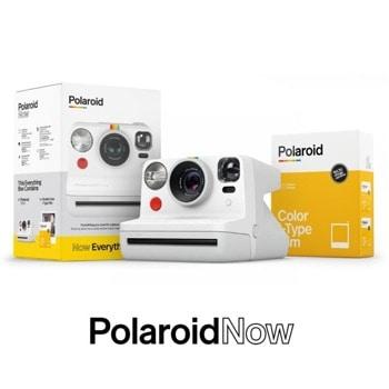 Фотоапарат Polaroid Everything Box Polaroid Now (бял) в комплект с цветен филм i-Type (16 броя), моментални снимки, светкавица, с батерия, auto-focus, USB image