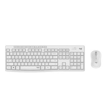 Комплект клавиатура и мишка Logitech MK295 Silent Wireless Combo, безжични, мултимедийни клавиши, бели image