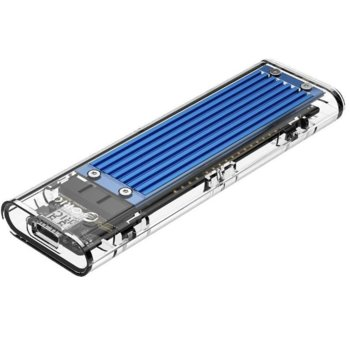 Кутия M.2 Orico TCM2-C3-BL за M.2 NVMe SSD, USB 3.1 / Type-C, син/прозрачен image