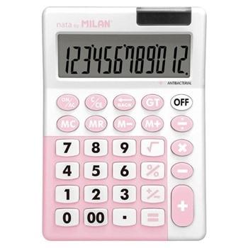 Калкулатор Milan, 12 разряден дисплей, настолен, антибактериален, 4 memory бутона,функции корен квадратен и Grand Total, розов image
