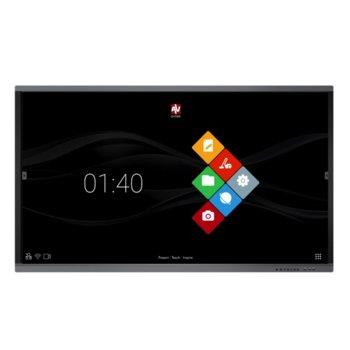 "Интерактивен дисплей Avtek TouchScreen 65 Pro4K, 65"" (165,1 cm) 4K UHD 16:9 мултитъч дисплей, 1200:1, 350 cd/m2, 2x HDMI, 1x VGA, 2x USB 2.0 image"