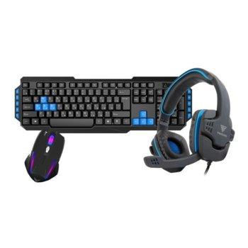 Комплект клавиатура, мишка и слушалки, микрофон Gamdias Poseidon E1 Combo, оптична мишка (3200 dpi), подсветка, 10 мултимедийни клавиша, USB, гейминг, черни image