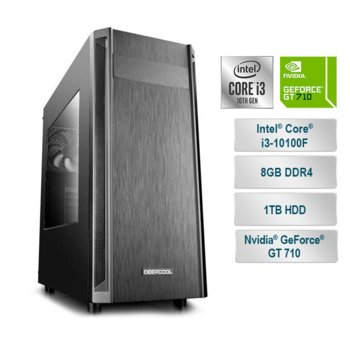 "Настолен компютър PC ""BIG Office"", четириядрен Coffee Lake Intel Core i3-9100F 3.6/4.2GHz, nVidia GF GT 710 2GB (HDMI), 8GB DDR4, 1TB HDD , USB 3.1 (Gen1), Free DOS image"
