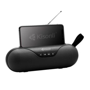 Тонколона Kisonli KS-1992, 2.0, 5W, безжична, Bluetooth, USB, SD, FM, черна image