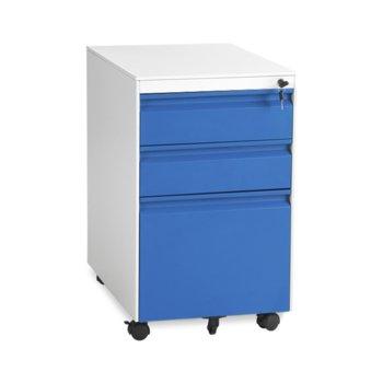 Офис контейнер Carmen CR-1249 L SAND, 3 бр. чекмеджета, метален, сив/син image