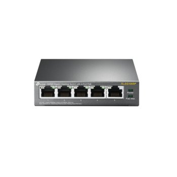 Суич TP-Link TL-SG1005P, 1000Mbps, 5x LAN10/100/1000Mbps, 4x PoE image