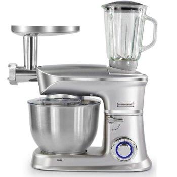 Кухненски робот Royalty Line RL-PKM1900.7BG, 1900W, 6 скорости, 6.5L, 3в1, блендер, миксер, месомелачка, сребрист image