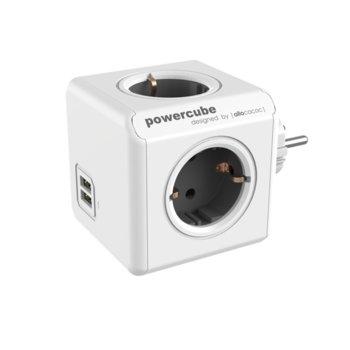 Разклонител Allocacoc Power Cube 1202GY, 4 гнезда, 2x USB, защита от деца, бял/сив image