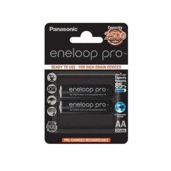 Батерии Panasonic Eneloop Pro, AA, 2500mAh, 1.2V, Ni-MH, 2 бр. image