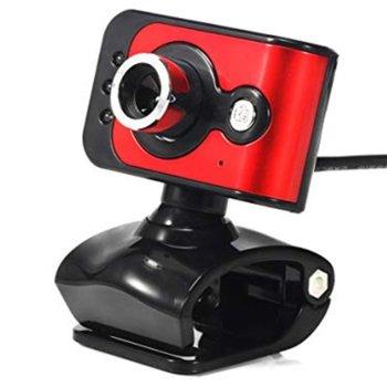 Уеб камера FY101, микрофон, 6 led светлини, автоматичен баланс на бялото, автоматична корекция на цветовете, USB, червена image